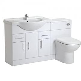 VeeBath Linx 1450 White Bathroom Set 850 Vanity with WC Unit, D Pan, Cistern