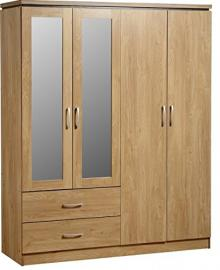 4 Door 2 Drawer Oak Wardrobe - Offers 2 Hanging Rails And Internal Shelf - Large Amount Of Space - Six Metal Handles
