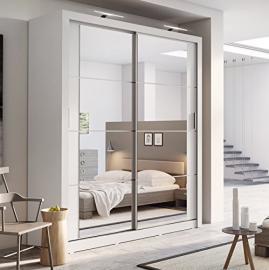 Brand New Modern Bedroom Mirror Sliding Door Wardrobe Arti 3 in Matt White 180cm sold by Arthauss (Wardrobe with LEDs)