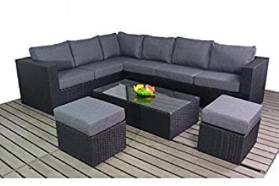 Centurion Prestige Rattan Garden Furniture Large Corner Sofa Set - Black