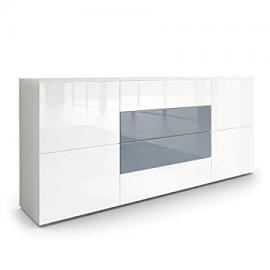 Sideboard Chest of Drawers Rova, Carcass in White matt / Fronts in White High Gloss and Grey High Gloss