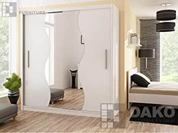 Bedroom Wardrobe Mirror Sliding Door Wardrobe TOKYO 5 White 6.6ft / 203cm Width