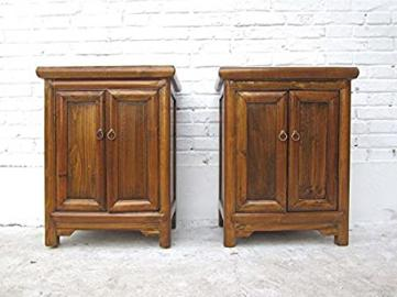 China A Pair of Small Cabinet Doors Pine Nachtschränke holzbraune Luxury-Park