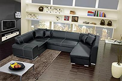 VERANI BIS large black double ended corner sofa bed with 2 storage containers boxes made of faux leather living room furniture sofas couches