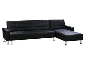 Convertible Angled Corner Sofa Theo - Black Simulated Faux Leather - 5 places