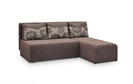 Small Brown Fabric Corner Sofa Bed - Peter - bed - beds - 205cm wide - 2 MAN DELIVERY