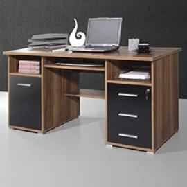 Ergonomic Walnut/Black Computer Workstation, 484-87