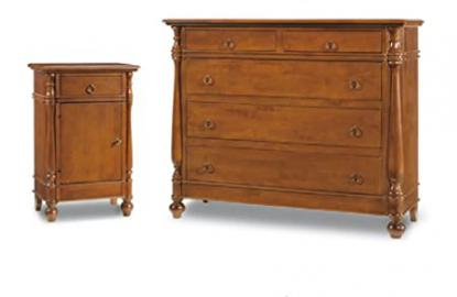 Bedroom set composed by Chest of drawers and 2 Nightstand, Classic Style, in Solid Wood and MDF with Polished Walnut Finish