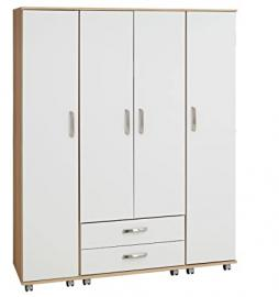 Ideal Furniture 4 Door Plus 2 Drawer Wardrobe, Wood, Sonoma Oak Carcass/White Gloss Fronts