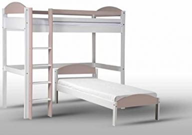 Design Vicenza Maximus L Shape High Sleeper, Wood, White with Pink Details, Single
