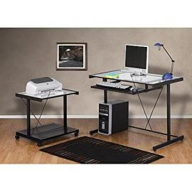 Computer Desk and Printer Cart Value Bundle,powder-coated Metal Frame with Pull-out Keyboard Shelf and Clear Tempered Glass Desktop, It Is an Ideal Large Workstation for Your Office or Home by Mainstays