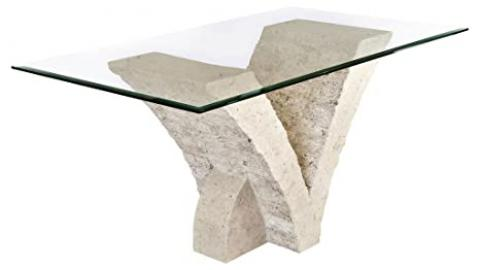 Seagull Dining Table with Fine Mactan Stone Base and Tempered Glass Top