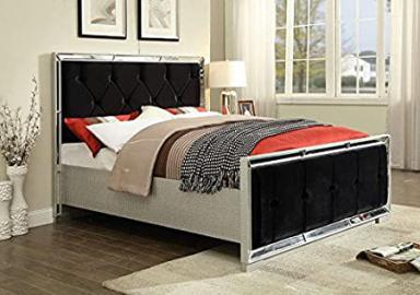 Mirrored Furniture Mock Croc Black Velvet Upholstered Bed Silver Ventian Modern Sofia (4'6ft)