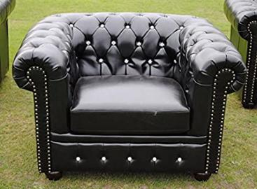 Brand New Black Bycast Leather Chesterfield Diamante 1 Seater Club Chair!