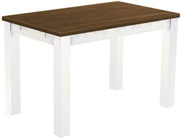 Brazil Furniture Dining Table, Solid Pine Wood Oiled and Waxed Walnut/White, L x w x h: 120x 73x 78cm