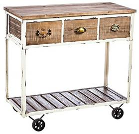White And Natural Distressed-Wood Hall Table With Wheels