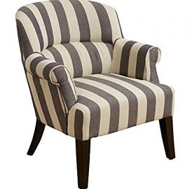 Enticing Deluxe Stripe Armchair - Cream And Grey Striped - Foam-Filled Cushioning In The Seat And Back - Quality Fabric Upholstery