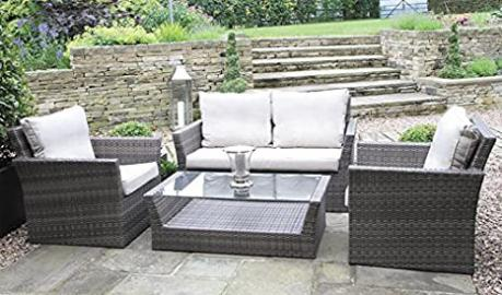Warwick Rattan Weave 4PC Sofa Set with Cushions Mixed Brown