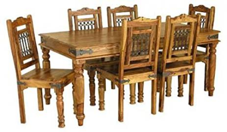 Jali 180CM Dining Table/ with or without Chairs - Constructed from 100% Real Sheesham Wood - Indian Rosewood (Table Only)