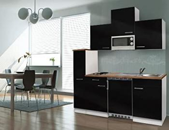 respekta Kitchen Unit Kitchen Island 180 CM White with APL Butcher Walnut Black Ceramic KB180WSMIC