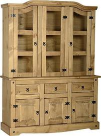 "Corona 4ft-6"" Buffet Hutch Glazed Dresser"