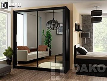 Modern Bedroom Mirror Sliding Door Wardrobe PARIS Black - 4.9ft /150cm Width