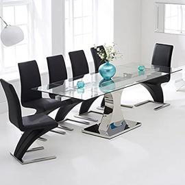 Amber 160cm-240cm Stainless Steel And Glass Extending Dining Table
