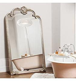 Palazzo Very Large Ornate Silver Rectangle Full Length Wall Mirror 73in x 41in