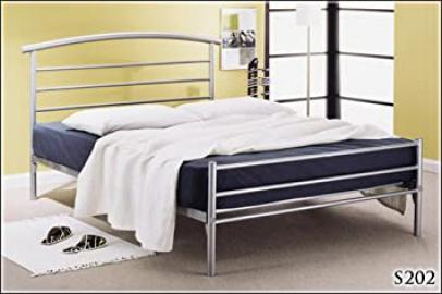 BRAND NEW 4ft 6 METAL SILVER DOUBLE BED FRAME AND SLUMBER SLEEP ORTHOPAEDIC ORTHO MATTRESS
