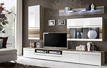 """BMF """"MALOU GERMAN STYLE"""" GLAZED Modern BALTIMORE WALNUT MATT & WHITE HIGH GLOSS Entertainment Wall Unit - Living Room / Bedroom / STUDIO FLAT - Furniture Set - LED Cabinets - ONLY FROM BMF !!!"""
