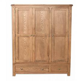 Melbourne Country Oak 3 Door 2 Drawer Wardrobe / Solid Country Oak Triple Wardrobe / Country Oak Bedroom Furniture
