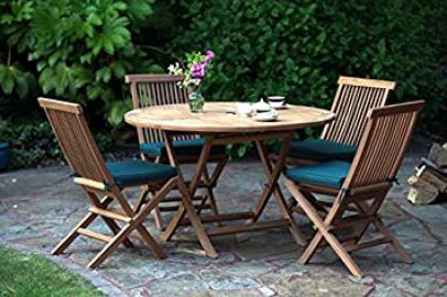 Biarritz 9 piece dining garden furniture set - teak round folding table + chairs