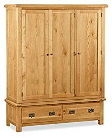 Global Home Products Collection 27 Triple Wardrobe, Wood, Brown
