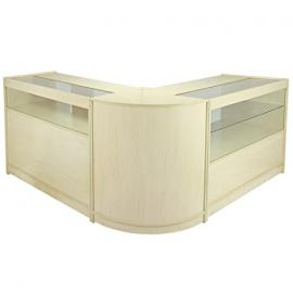 MonsterShop Leo Shop Counters Set & Glass Retail Showcase Cabinet Display, Maple, Melamine MDF