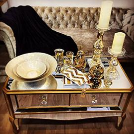 NEW ITALIAN VENETIAN MIRRORED GLASS COFFEE TABLE WITH TWO DRAWERS STORAGE LIVING ROOM (H16221) ** FULL RANGE OF MATCHING FURNITURE IS AVAILABLE **