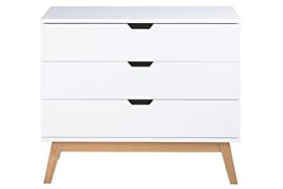 Natural 90 x 48 x 77 cm Scandinavian White Chest with 3 Drawers Sideboard Cabinet High Cabinet White Finish