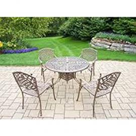 Bronze Ornate Cast Aluminium Table and 4 Chair Garden Patio Courtyard Set