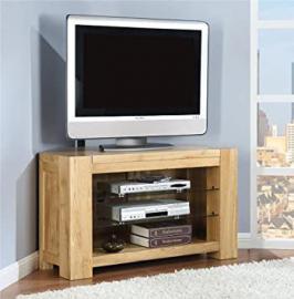 Milton solid oak living room furniture corner tv stand cabinet