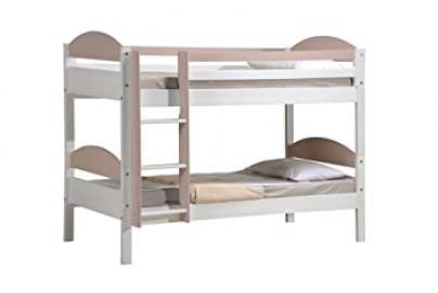 Design Vicenza Maximus Bunk Bed, Wood, White with Pink Details, Single, 3 ft