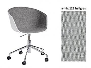 Hay, Hay about a Chair AAC 52Armrest Chair with Gas Lift Office Chair Adjustable Chrome Executive Office Computer Desk Chair Fabric Remix 123Grey Front Padded Shiny Polished Aluminium Frame/with soft rolls Height 74.5–87,5&nb