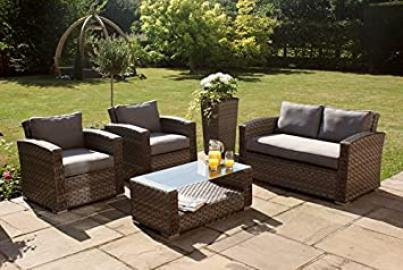Maze Rattan Victoria Weave 4 Seat Sofa Set - Fully Assembled in Grey