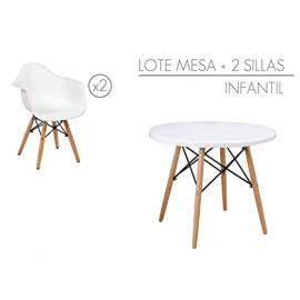 Set table with 2 chairs for children