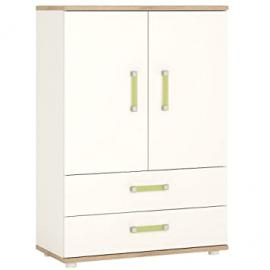 Furniture To Go 4Kids, 2 Door and 2 Drawer Cabinet, Wood, White Gloss/Light Oak