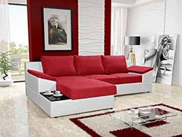 ORPHEUS red and white faux leather fabric large corner sofa bed with storage sleeping area coffee side tea table living room furniture couches sofa beds