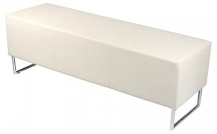 Blockette Diner Bench/ Dining Seats Covered in Fuax Leather Material in Ivory and Black Colour (Ivory)