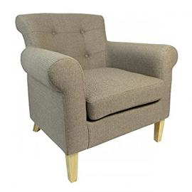 Shankar Pittsburgh Herringbone Brown Fabric Armchair