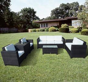 Outsunny Garden Patio Rattan Furniture 6 pcs Set Wicker Weave Conservatory Sofa Table Chair Set Brown Fire Retardant Sponge