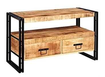 Indian Hub Cosmo Industrial TV Stand, Natural Wood/Dark Metal