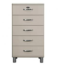 Tenzo Malibu Designer Chest of Drawers, Lacquered MDF and Chipboard, Warm Grey