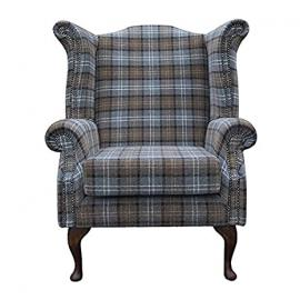 Armchair in a blue tartan fabric